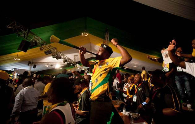 ANC delegates show their support. Photo: Daniel Born (TimesLive)