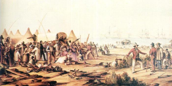The 1820 British settlers arrive in Algoa Bay, Port Elizabeth. Image courtesy of: http://portelizabethtimes.blogspot.com/2011/03/1820-british-settlers-arrive-algoa-bay.html