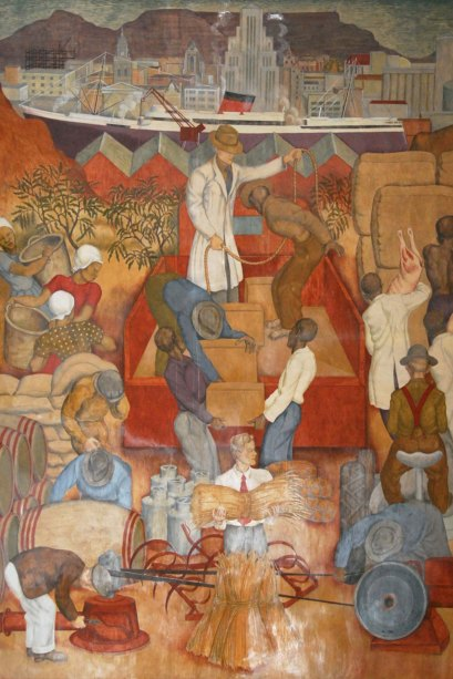 A panel from the frescoes in the Assembly Room, Mutual Building in Cape Town, painted by Le Roux Smith in 1942. The fresco illustrates the importance of agriculture and shipping to the economy of the Western Cape in the early half of the 20th century (Source: Wikipedia 2013)