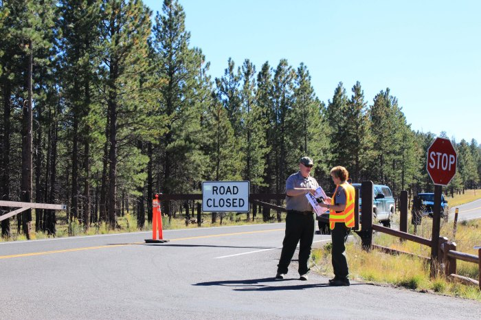 Closing National Parks = closing rural towns: The entry road into Bryce Canyon National Park are blocked by Park Rangers on October 2, 2013.