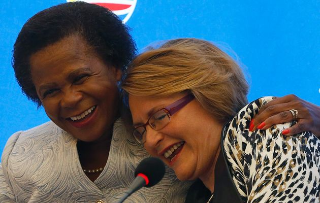 No laughing matter: Mamphela Ramphele and Helen Zille in good times. Photo by: Mike Hutchings