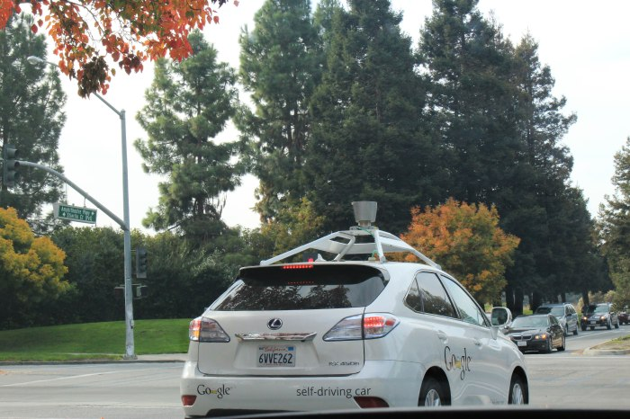 Another labour-saving technology: goodbye chauffeurs and taxi-drivers, hello millions of hours of additional work time for commuters. Picture taken by my wife Helanya as we drove through Silicon Valley, November 2013. My biggest fear was crashing into it.