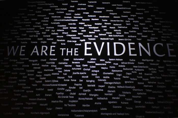 WE ARE THE EVIDENCE: Names of groups that have disappeared in the US (National Museum of the American Indian; photo by Johan Fourie)