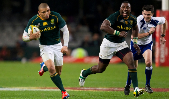 South Africa's Mtawarira reacts as Habana is clear to score a try during their rugby test match against Italy in Durban