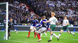 The R1 billion touch... Thierry Henry in action against Ireland.