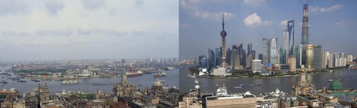 Blame capitalism for reducing poverty in China: The Shanghai skyline in three decades